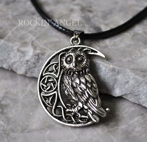 Antique silver plt celtic moon owl pendant necklace ladies gift image is loading antique silver plt celtic moon amp owl pendant aloadofball Image collections
