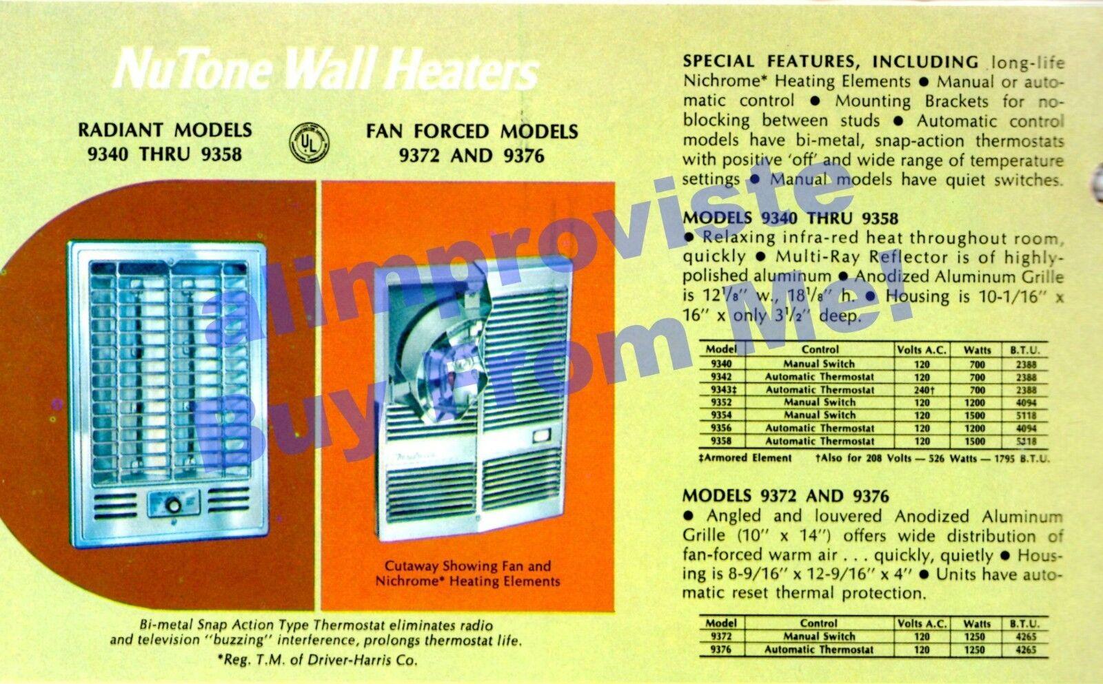 NOS Vtg NuTone Mid Century 9354 Radiant Wall Space Heater 1500 Watts 12x18    eBay