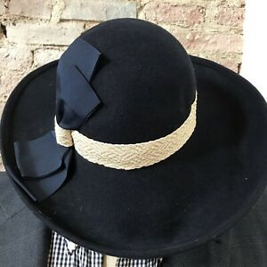 1a70b867822b6 Image is loading Vintage-Navy-Wool-Hat-Wide-Brim-Bow-7-