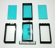 Lego Glass Door & Windows Clear Blue 60130 Black Frame 1x4x6 Police Station Shop