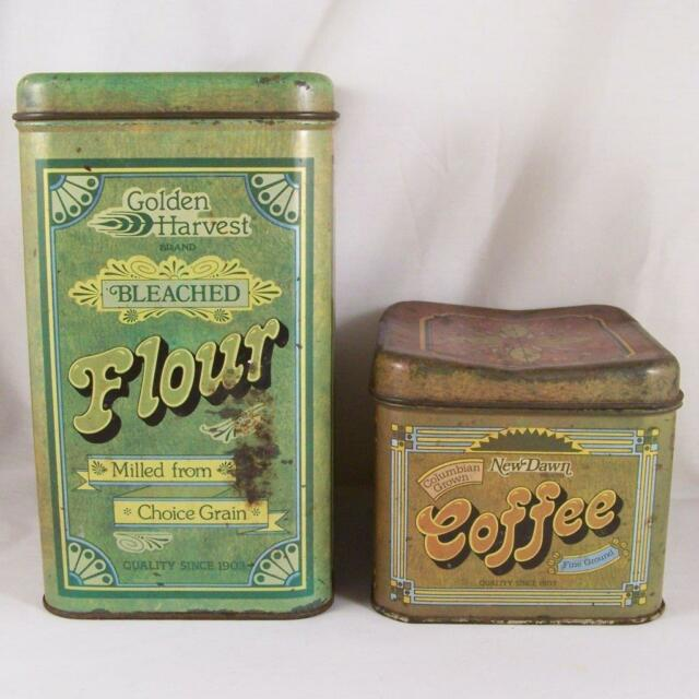 exceptional Retro Metal Canisters Part - 7: Vtg Cheinco Flour u0026 Coffee Tin Canisters Metal Retro Kitchen Decor Patina  MCM