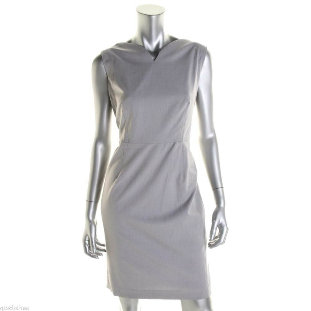 JONES NEW YORK  119 Grey Stretch Sleeveless Knee-Length Lined Work Dress 12 QCO