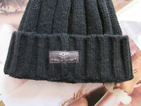 Ugg Hat Cuff Beanie Calvert Knit Wool Blend Black S/m
