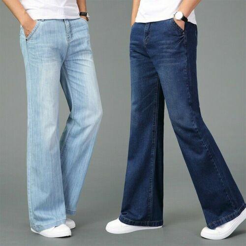 1960s Men's Clothing   Men Bell Bottom Jeans 60s Retro Flared Denim Pants Retro Wide Leg Trouser Long $36.99 AT vintagedancer.com