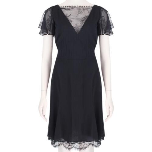 mélangée dentelle It42 soie Pucci à en transparente élégante bordure Uk10 noire Robe Emilio en 5q3LRA4j