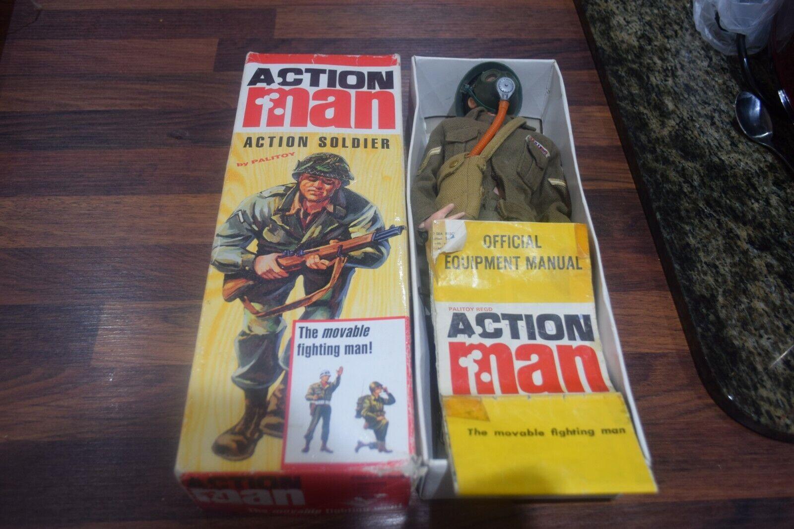 VINTAGE ACTION MAN ACTION SOLDIER BOXED FLOCKED HAIR  FIGURE Original NEAR MINT