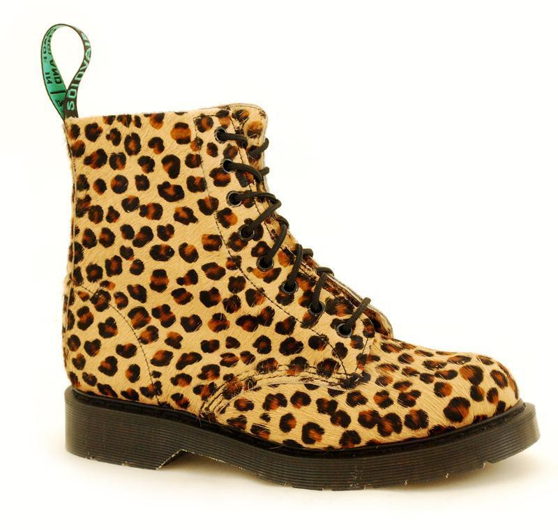 Solovair NPS Shoes Made in England 8 Eye Leopard Fur Boot S070-S8551LEO7B