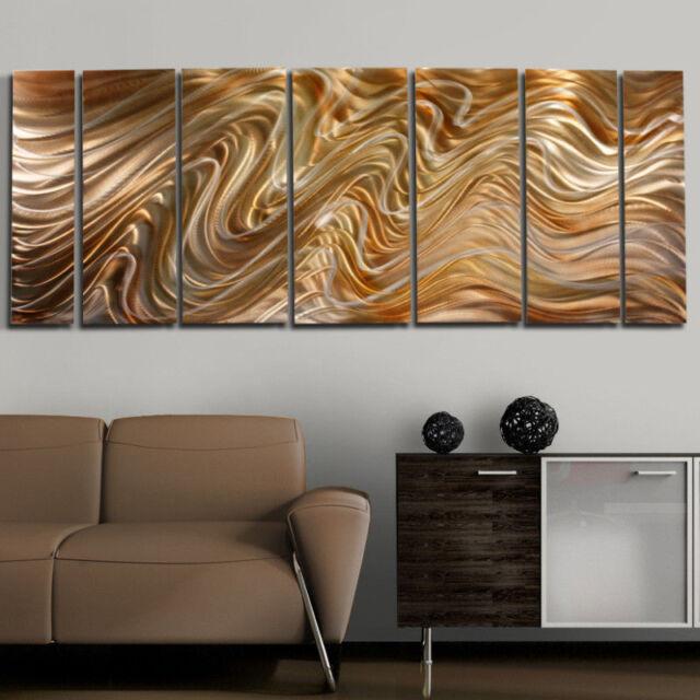 Modern Abstract Hand Painted Gold Metal Wall Art - Mystic Desert by Jon Allen