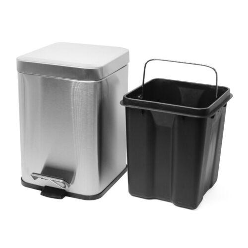 6 Liter Büro Mülleimer eckig Kosmetikeimer Treteimer 6L Papierkorb Abfalleimer
