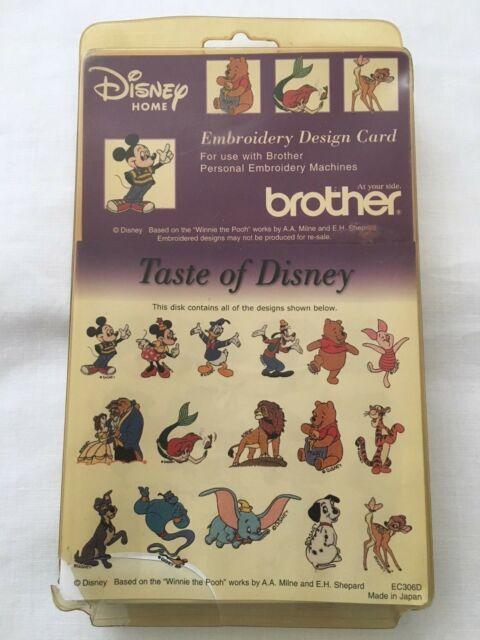 Brother Taste of Disney Embroidery Card 16 Designs Case Thread Guide Ec306d