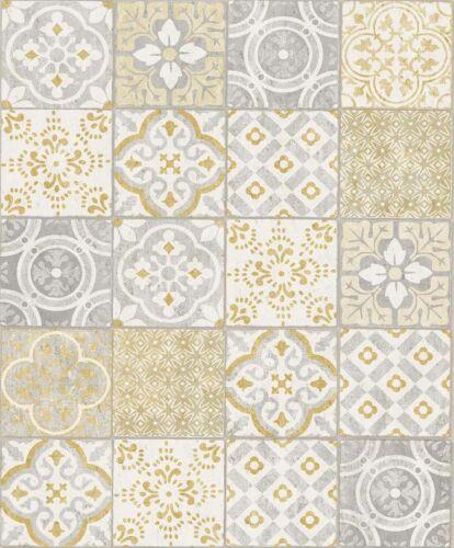 Wallpaper Vinyl Tiles Vintage grey yellow Salinas Safira SA2302 4,37£//1qm