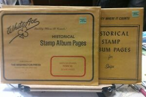 Details about White Ace Stamp Album Pages Ships on Stamps Blank pages