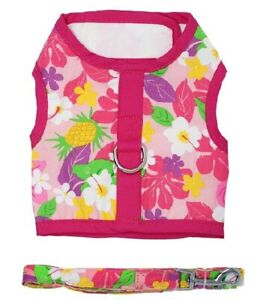 Fabric-Dog-Harness-with-Leash-by-Doggie-Design-Pink-Hawaiian-Floral