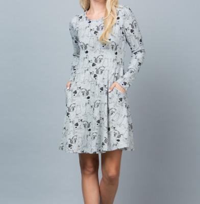 NWT Boutique LA SOUL Hippy Dinosaur Animal Print Sweater Dress Causal Fall Tunic
