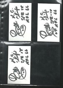 (3) ED BUDDE AUTOGRAPHED/AUTO/SIGNED/HAND SIGNED INDEX CARD 3x5