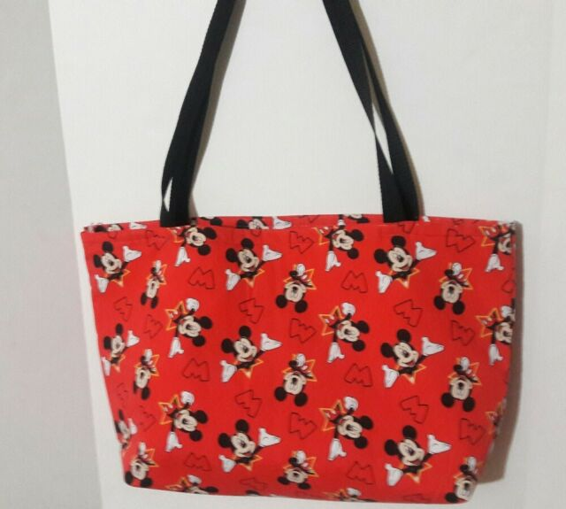 MICKEY MOUSE PRINT FABRIC TOTE BAG - RED