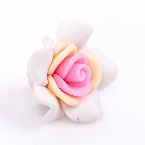 YELLOW 2 WHITE and PINK Polymer Clay Rose Flower Beads pol0025