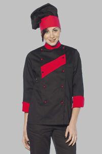 Giacca Cuoco Casacca Chef Donna Cucina Divisa Cotone da Lavoro ... a4e796b4f012