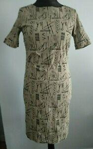 Bitte-Kai-Rand-Schwarz-Grau-Hieroglyphen-Bleistift-Karriere-Professional-Kleid-Groesse-14