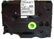 Black on White Label Tape Compatible for Brother TZ 231 TZe 231 P-Touch 26.2ft