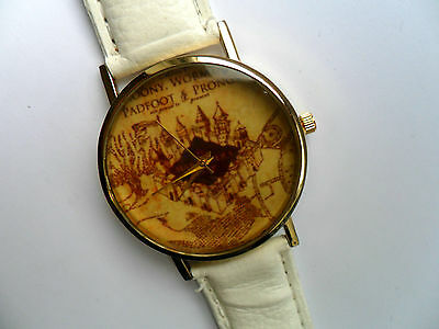 NEW Harry Potter Marauders Map Gold  Faced Quartz Watch White Strap