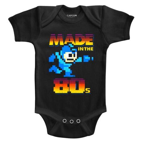 Megaman Rokkuman Made in the 80/'s 8Bit Pixel Baby Body Suit Gamer Infant Romper