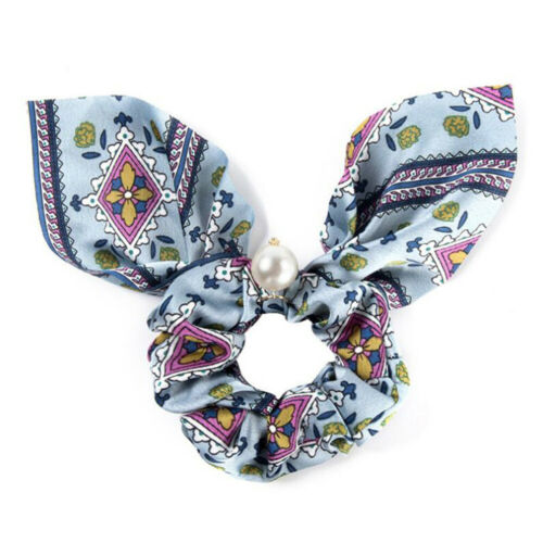 12Colors Vintage Pearl Bow Scrunchies Hair Ties Elastic Hairband Ropes For Girls