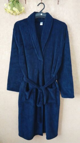 Luxury Mens Navy BLUE Thermal Coral Fleece Dressing Gowns Super soft Bath Robe