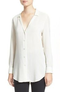 NWT-Equipment-039-May-039-Stripe-Silk-Shirt-marshmallow-ecru-S