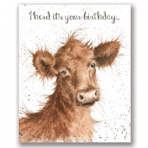 Wrendale Designs Happy  Birthday Greeting Card Cow I herd it was your birthday