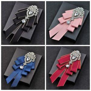 Men/'s Bow Tie Rhinestone Crystal Satin Tied Necktie Formal Wedding Party Vintage