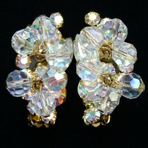 Vintage 60s Aurora Borealis Dangle Bead /& Rhinestone Gold Tn Teardrop Cluster Earrings Clip On