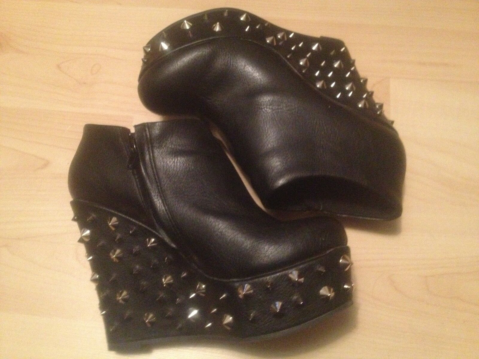 Black DEEN & OZZY SPIKE STUD  Ankle Platform Wedge goth BOOTS Size 7