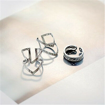 Fashion Accessories Jewelry New Punk Cuff Finger Ring 3pcs/set Gift for Women BD