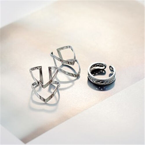 Fashion Accessories Jewelry New Punk Cuff Finger Ring 3pcs//set Gift for Women P*