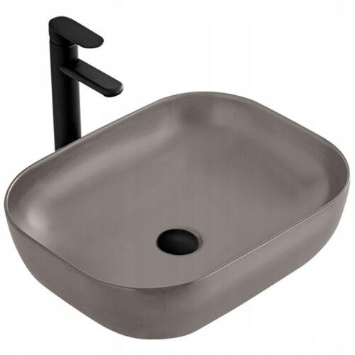 Keramik Waschtisch Waschbecken Aufsatzwaschbecken BELINDA NEU GRAU MAT CHIC