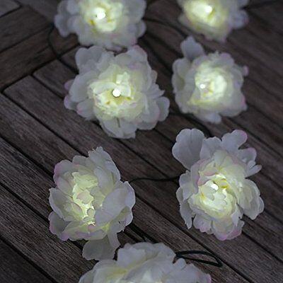 White Rose Solar Light String, 10 Roses, LED Tree Garden Outdoor Hanging, BNIB