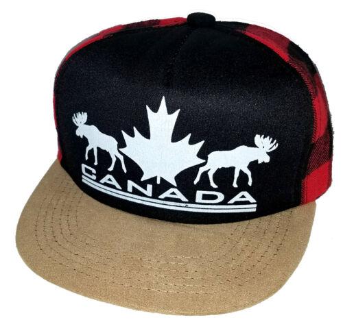 Kid/'s Canada Moose Leaf Plaid Buffalo Check Snapback Mesh Trucker Hat Cap