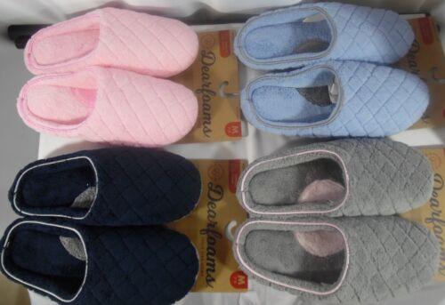 Women/'s Dearfoams Terry Clog Slippers Medium Shoe 7-8  Lt Blue~Gray~Pink~Dk Blue