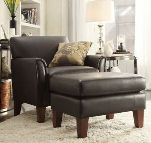 Sensational Details About Dark Brown Leather Furniture Accent Chair And Or Ottoman Set Chairs Living Room Ncnpc Chair Design For Home Ncnpcorg