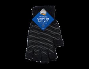 Mens Ladies fingerless gripper work gloves with grip black winter warm magic