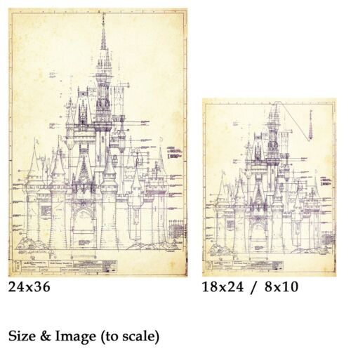- Dated 1969 up to 24 x 36 Cinderella DISNEY WORLD Castle Blueprint POSTER!
