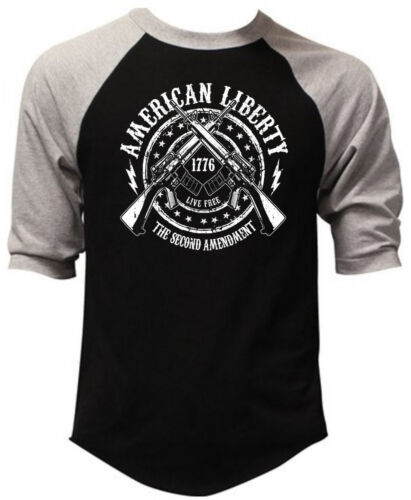 Men/'s American Liberty 2nd Amendment Black Baseball Raglan T Shirt Army Military