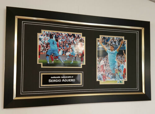 NEW Sergio Aguero of Manchester CITY Signed Photo Picture Display