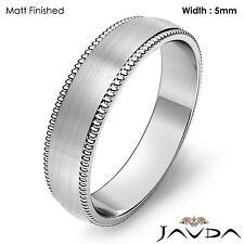 Mens High Polish Wedding Band Platinum Dome Milgrain Edge Ring 5mm 7.9gram 8-8.5