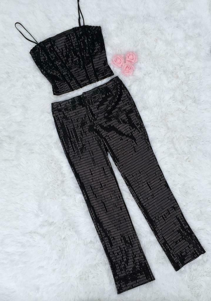 BETSEY JOHNSON soirée Sz S Noir Glam Crop Top Pant Set