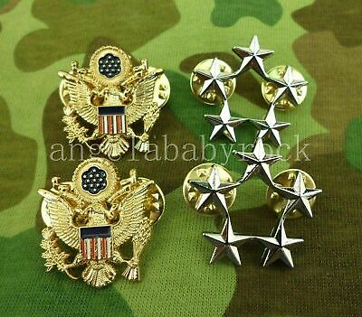 A Pair US Army Military Officer Collar isignina Pin Badge Cosplay Metal Badge