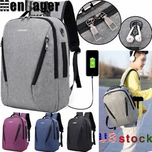 Mens Laptop Backpack USB Charging Business Anti Theft Travel Notebook School Bag