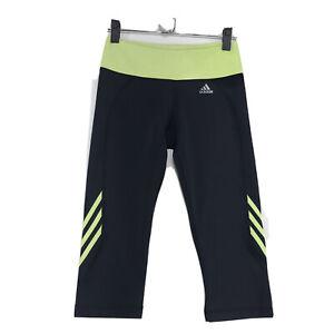 Adidas-Climalite-Cropped-Capri-Athletic-Pants-Sz-M-Gray-Wide-Yellow-Waistband
