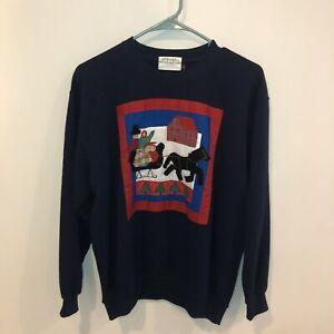 Vintage-1992-Susan-Bristol-Embroidered-Christmas-Santa-s-Sleigh-Sweater-Women-S